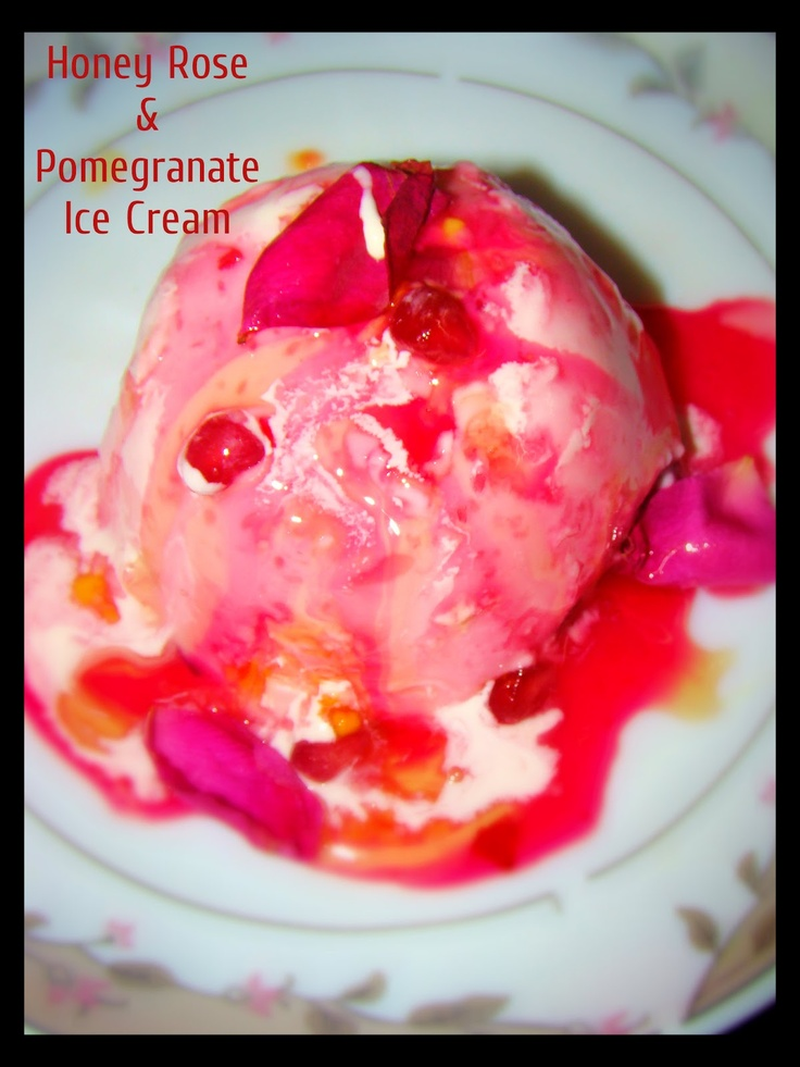 Honey Rose & Pomegranate Ice Cream - Curries & Stories