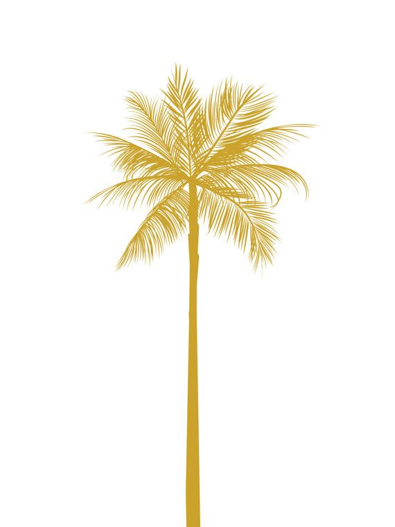 Gold Palm Tree Print California Palm Tree by MelindaWoodDesigns