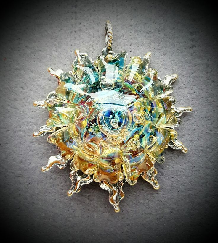 Sun pendant with unique glass cabochon and rooster on back side. Lampwork, glass, brass, silver plating, jewelry. by AnnaBronze on Etsy
