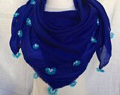 Royal Blue  Soft Scarf Handmade Shawl Ethnic Turkish Modern Scarf With Beads Valentine's Day Mother's Day Perfect Gift For Her Ready to ship