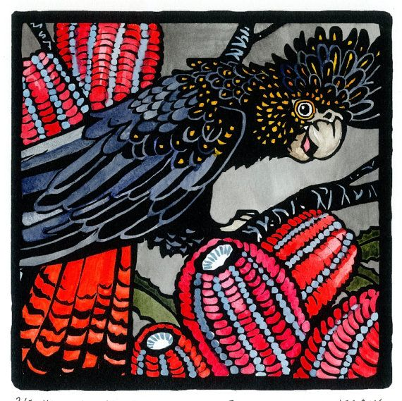 Limited edition, Hand coloured Linoprint of Australian wildlife. 'Red Tailed Black Cockatoo.'