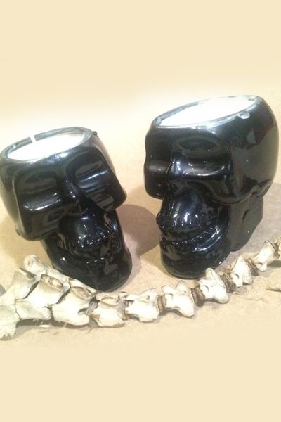Black Skull Chocolate Candle, Made from 100% pure soy wax hand poured into a blacker than black skull glass jar.