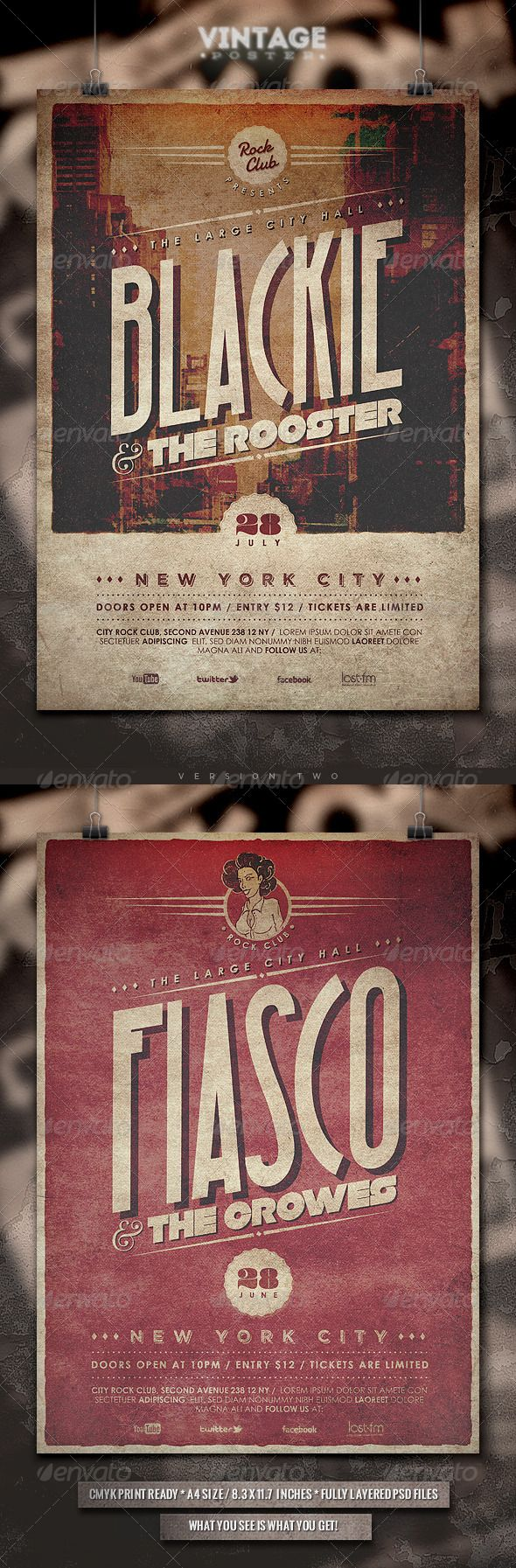 Vintage Poster  II — Photoshop PSD #rock music #grunge • Available here → https://graphicriver.net/item/vintage-poster-ii/4616889?ref=pxcr