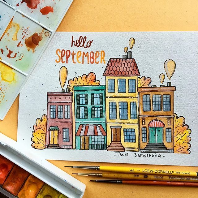 It is time to say Hello September  #tania_autumndraw I love autumn so much! #illustration #tanias_year #taniasamoshkina #watercolor #helloautumn #helloseptember #september #autumnart #artistoninstagram #picame #painteveryday #inspiration #home