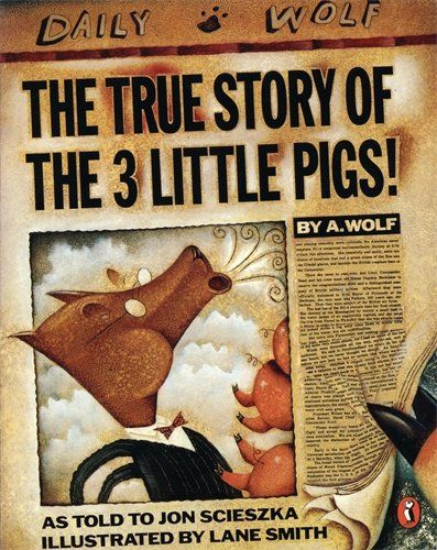 The True Story of the Three Little Pigs (Picture Puffin) by Jon Scieszka http://www.amazon.co.uk/dp/0140540563/ref=cm_sw_r_pi_dp_PEOqvb1V8N84Q
