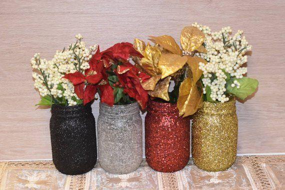 Red Gold White And Black Mason Jars Christmas Party Decoration Christmas Table Decor Glit Tea Lights Wedding Tealight Centerpiece Wedding Wedding Centerpieces