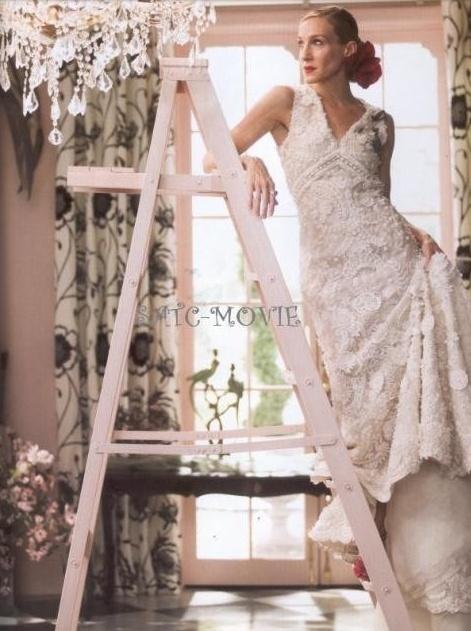 Sarah jessica parker wearing an oscar de la renta wedding for Sarah jessica parker wedding dress