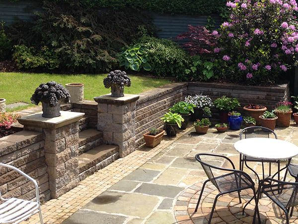 flowers on pillars, patio chairs, lilac, paver patio, Back Yards, Patio, Posts, Walls & Courtyard