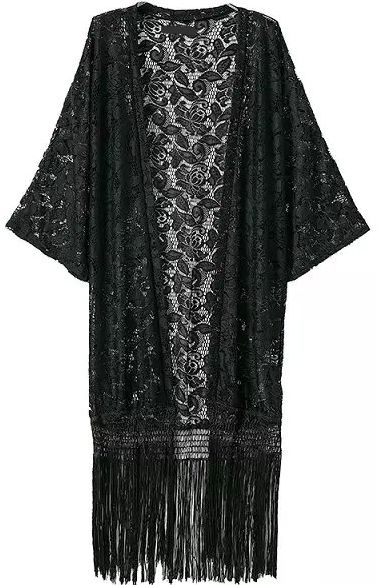GABRIELLE'S AMAZING FANTASY CLOSET |  Black Lace Kimono with Long Fringe. I'm showing it with a Multi-Colored Silk Georgette Maxi-Dress. You can see the Whole Outfit and my Remarks on this board. - Gabrielle