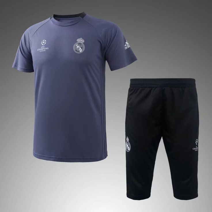 Real Madrid 2016/17 Light Gray Short Sleeve Men Tracksuit Slim Fit