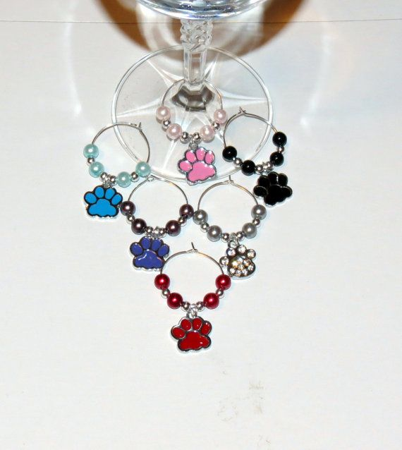 Paw Print Wine Glass Charms set of 6 by PawInspiredCreations