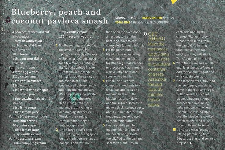 Blueberry, peach and coconut pavlova smash (magazine scan)