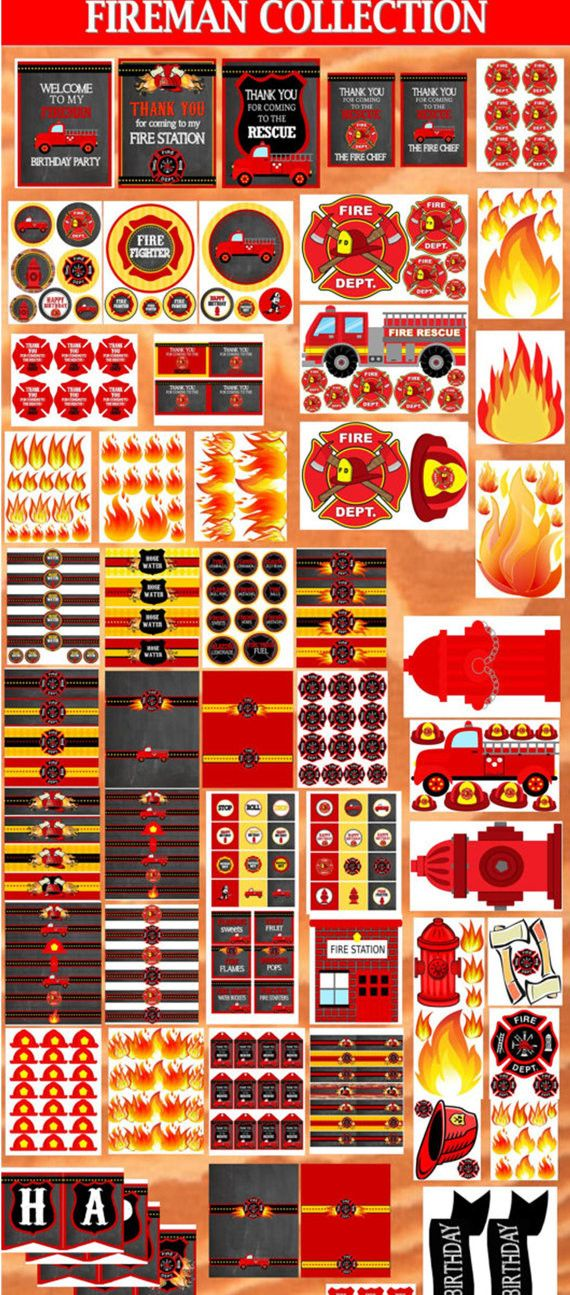 FIREMAN Birthday - SIGN - Fire Fighter Party