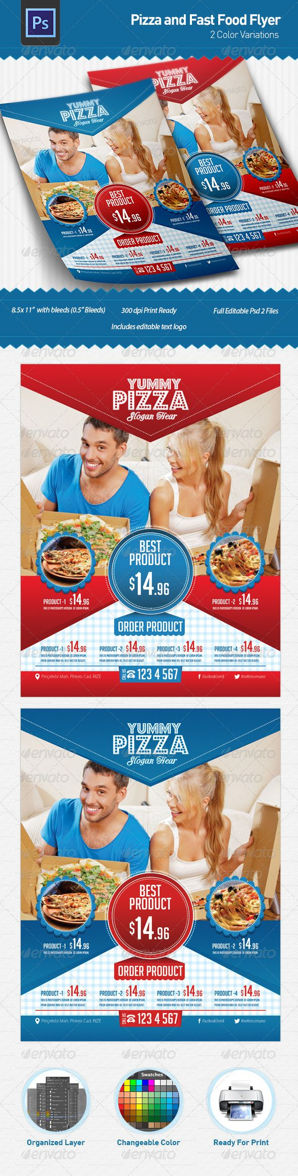 Pizza and Fast Food Flyer  flyer menu