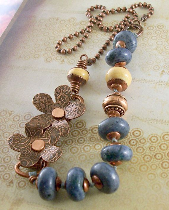 Necklace Copper Flowers Antiqued Metalwork Blue by lunedesigns, $87.00