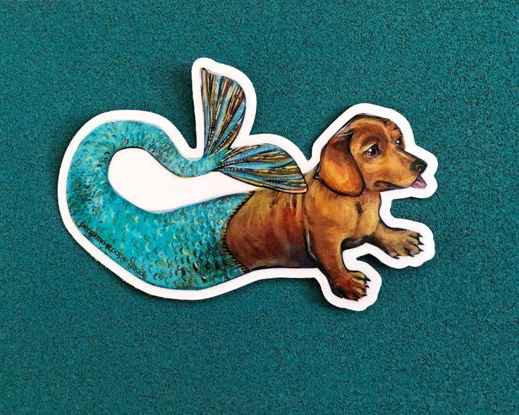 Mermaid Dachshund Sticker   Vinyl Sticker   Unique Waterproof Sticker   Car Sticker   Laptop Sticker   Outdoor Sticker   Nonfade Sticker by PergamoPaperGoods on Etsy https://www.etsy.com/listing/520572843/mermaid-dachshund-sticker-vinyl-sticker