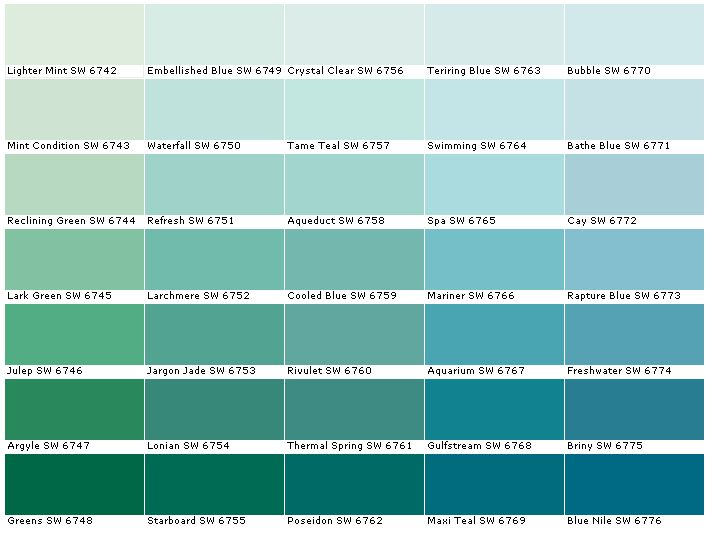 Sherwin Williams Sw6742 Lighter Mint Sw6743 Condition Sw6744 Reclining Green Sw6745 Lark Sw6746 Julep Sw6747 Argy Color Combinations Paint