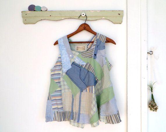 Patchwork swing sans manches débardeur en vert clair, bleu, blanc, jaune, gris.  Sans coutures côté/dos/épaules formelles - patchwork formé sur