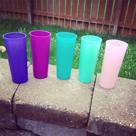 Vintage tupperware brand set of 5 drinking glasses by TaliGirl77