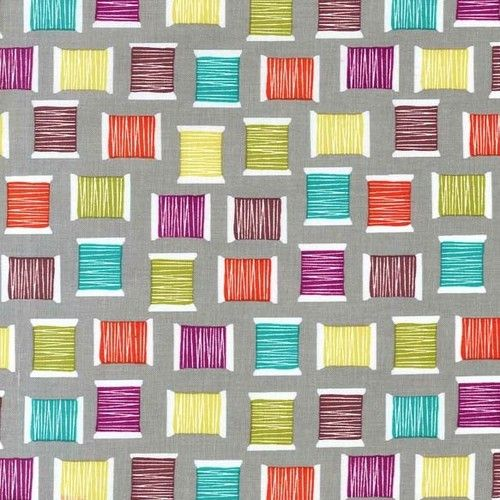 """""""Cotton Reels Grey"""" -  Sewing Fabric Fat Quarter by Michael Miller"""