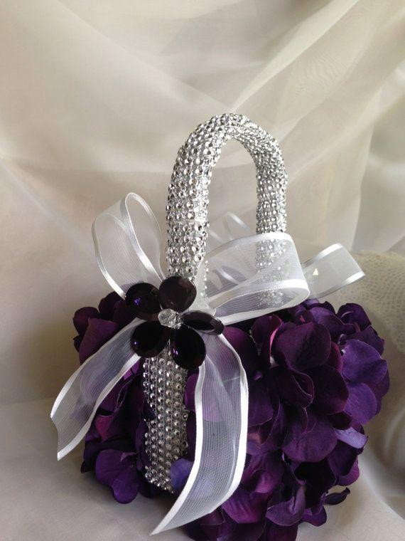 purple eggplant  flower girl basket with bling by TheCrystalFlower, $89.00 ❤ www.healthylivingmd.vemma.com ❤