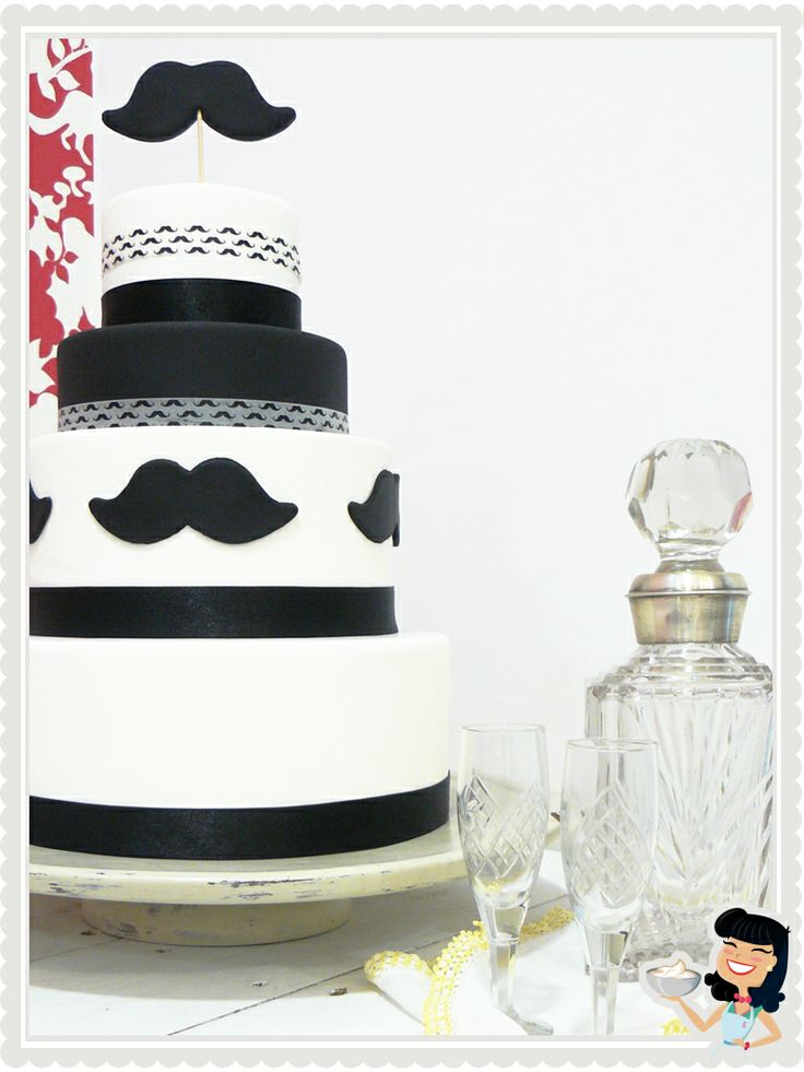 Moustache Gay Wedding Cake by Sweetmama. Mad Men Style!