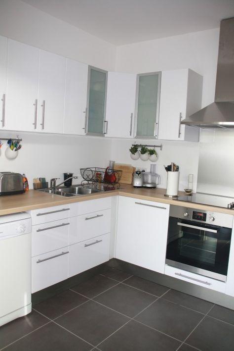 61 best cuisine ouverte images on Pinterest For the home, Home - cuisine blanc laque plan travail bois