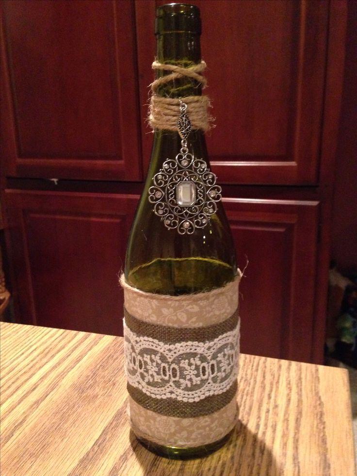 Wine bottle crafts. Outdoor wedding decor.