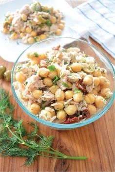 Keep your dinner light and fresh this week with this Easy and Healthy Mediterranean Tuna Salad recipe. Made with tuna, chickpeas, sun-dried tomatoes, olives, and a sprinkle of cheese, this simple meal option is a great thing to throw together when you're tight on time!