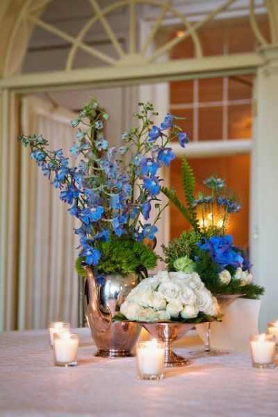 Blue White Centerpiece Centerpieces Wedding Flowers Photos & Pictures - WeddingWire.com