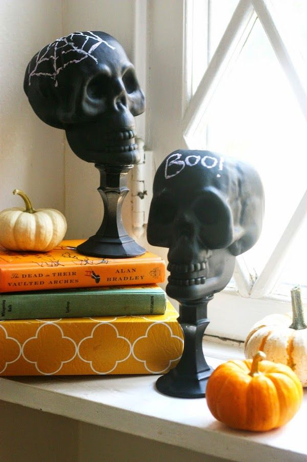 dollar store craft diy upcycled skulls - Cheap Ways To Decorate For Halloween