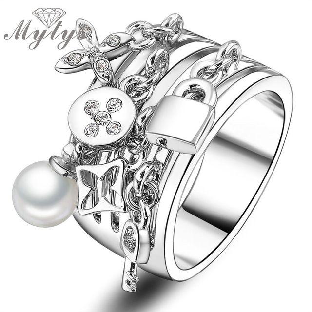 Mytys 2017 Поступила Новая Мода Брелок груша и Замок украшает антикварные кольца манжеты для женщин обручальные и свадебные R422