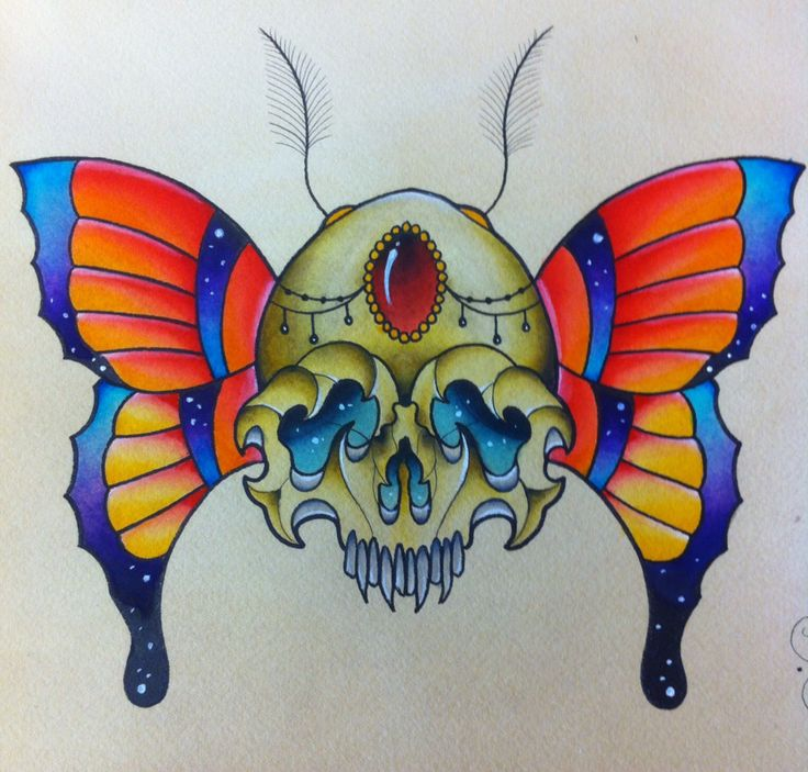 Skull butterfly traditional tattoo flash by Darin Blank. Instagram: @darinblanktattoos #tattoo #art #design #ink #traditionaltattoo #neotraditional