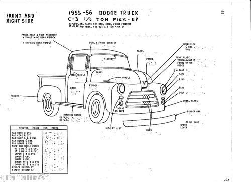 1955 56 dodge c 2 ton pickup nos body panel exterior