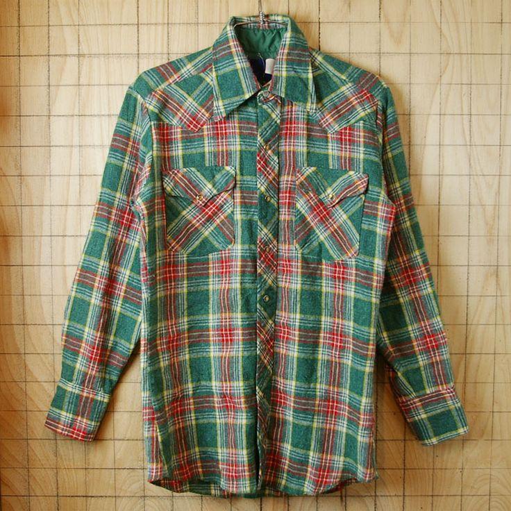 【Wrangler】80'sUSA(アメリカ)製古着グリーン(緑)×レッド(赤)チェックシャツ sy-l-199