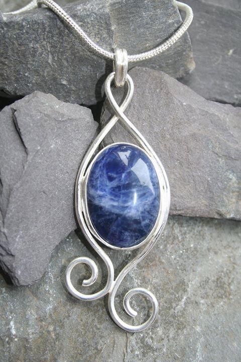 Silver Sodalite Pendant by HandmadeNorfolk on Etsy