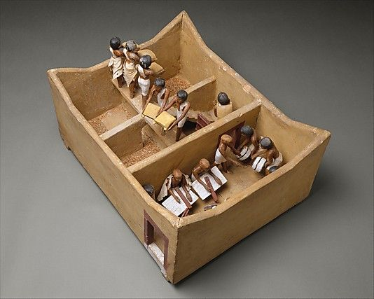 Model Granary from the Tomb of Meketre    Period:      Middle Kingdom  Dynasty:      Dynasty 12  Reign:      reign of Amenemhat I, early  Date:      ca. 1981–1975 B.C.  Geography:      Egypt, Upper Egypt; Thebes, Southern Asasif, Tomb of Meketre (TT 280, MMA 1101), serdab, MMA 1920  Medium:      Wood, plaster, paint, linen, grain