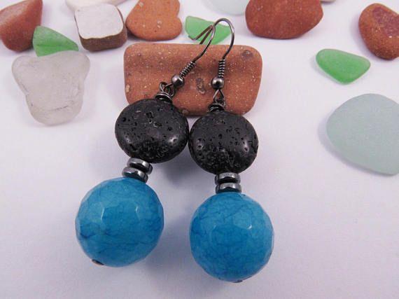 Blue Jade Earrings  Black Lava Earrings  Hematite by RubiesAndBees