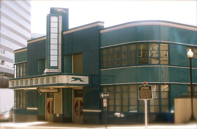 It was   originally the Greyhound Bus Station, built in 1937-38. Art Deco remained very popular   throughout the WW II Era.""