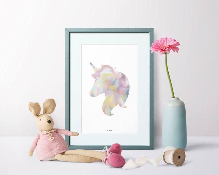 Unicorn poster, unicorn printable, watercolor unicorn, unicorn art, unicorn print, nursery unicorn print, unicorn room decor, rainbow print #unicorn #nurseryprint #nurserydecor #nursery #poster #pink