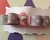 Large Double Bow Grosgrain Ribbon Pink Grey Polka Dot Ice Cream  Available on Etsy