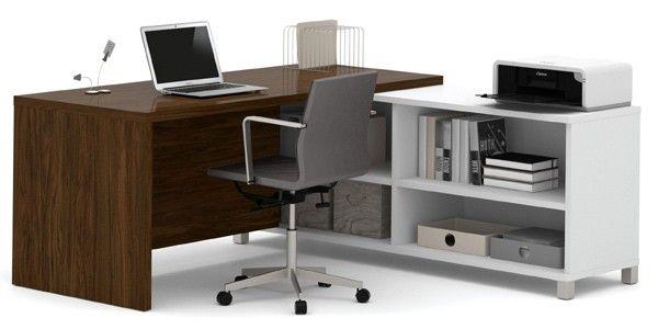 Bestar - Pro-Linea White & Oak Barrel Door L-Desk - 120885-30
