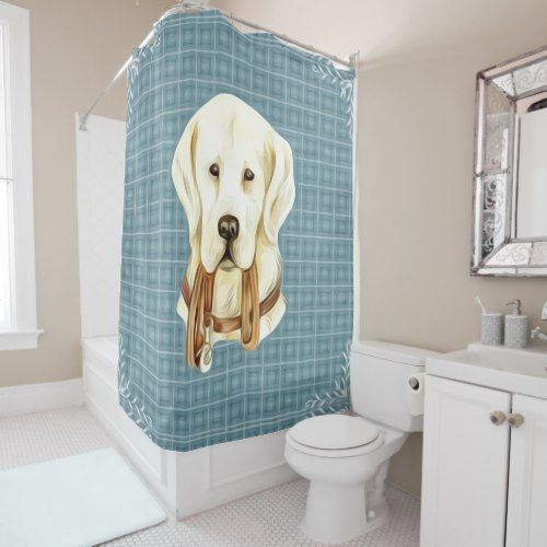 Cute Labrador Retriever on Blue Plaid Shower Curtain - modern gifts cyo gift ideas personalize