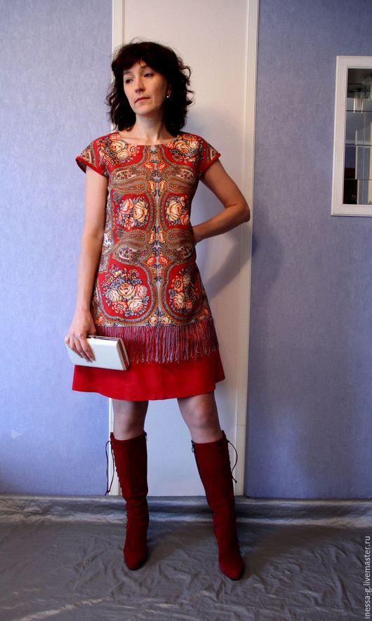 Платья ручной работы.  замша платье