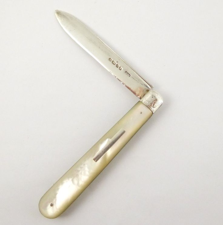 Solid Antique 1881 Sterling Silver Hallmarked Pocket Fruit Knife with a Pearl Handle by Thomas Marple - The Collectors Bag
