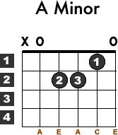 Learn how to play the beginner guitar Chord A minor(aka. Am) with this free lesson. Guitar chord chart and video tutorial included.