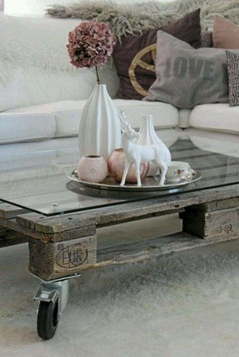 Wat een geweldig idee! Een salontafel van een houten pallet. Makkelijk zelf te maken en niet duur!