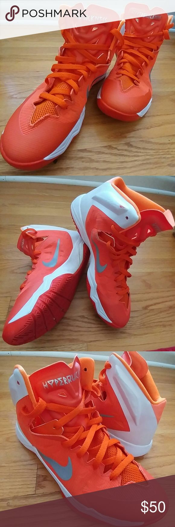 MEN'S NIKE ZOOM HYPERQUICKNESS SNEAKERS SIZE 13.5 Men's NIKE ZOOM HYPERQUICKNESS Sneakers Size 13.5.  Orange with White.  Clean.  EUC.  In great used  shape.  Well cared for. Nike Shoes Sneakers