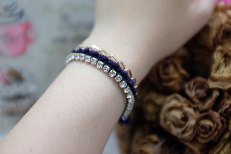 Navy diamond statement bracelet