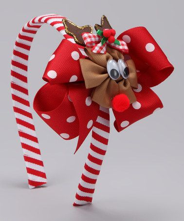 Take a look at this Red Reindeer Bow Headband Set by Picture Perfect Hair Bows on #zulily today!